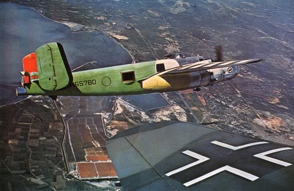 http://www.daveswarbirds.com/bob/pics/behind/color_closeup_B-25_and_HE-111.jpg