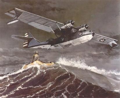 一架美军pby卡特林纳水上飞机前来救援落水的美军