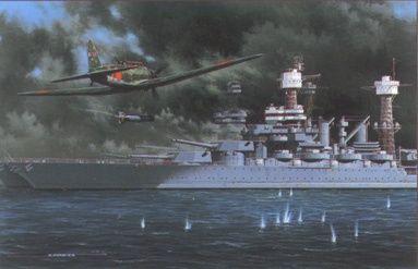 Art et peinture Combat Aero NAVAL - Air Fights of WWII Battleshp